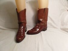 JUSTIN ROPER WESTERN COWBOY BOOTS LEATHER UPPER &SOLES WOMENS SIZE 6.5C BROWN