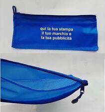 100 borsello pochette mini beauty blu personalizzati in serigrafia