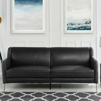 "Mid Century Leather Match Sofa 77.1"" Sleek Simple Living Room Couch in Black"
