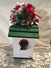 """Hand Painted small garden bird house Red Green White Cardinal Christmas 9.5"""" H"""