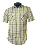 Roundtree & Yorke Men's Casuals Plaid Pocket Cotton Shirt (S, Light Yellow)