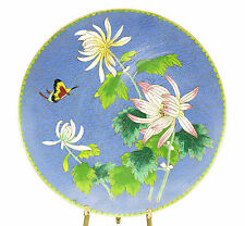 Cloisonne Enamel Chinese Footed Floral Plate; Floral, Butterfly, & Blue Design
