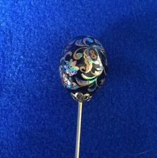 Antico DECO NERO FOIL IRIDESCENTE Glass Gold GILDED Art Nouveau Floreale hat pin