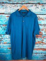 APT 9 Men's Short Sleeve Solid Blue Polo Shirt Size 2XL