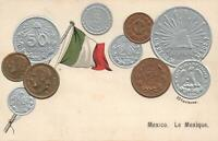 VINTAGE MEXICO FLAG & EMBOSSED COPPER SILVER & GOLD COINS POSTCARD - UNUSED