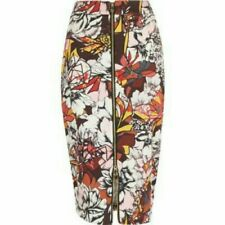River Island Ladies Floral Front Zip Stretch Pencil Skirt Size 10 UK