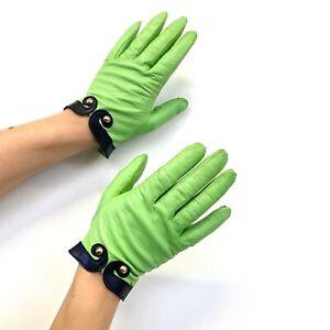 Vtg 90s Escada Lime Green Leather Black & Gold Stud Cuff Short Gloves sz S 7