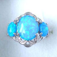 "GORGEOUS BLUE FIRE OPAL  RING UK Size ""L"" US 6"