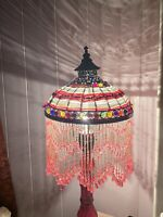 Rare Bronze Victorian Boho Lamp Beaded Shade Colorful Glass Cast Iron base