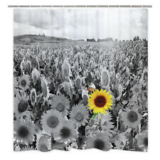 Yellow Sunflowers Field Shower Curtain Grey Flower Sea Spring Landscape Decor