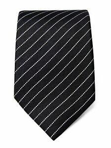 Black Silk Tie with White Stripes