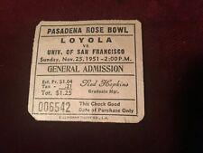 Vintage 1951 PASADENA ROSE BOWL Football Ticket 006542 Loyola vs. San Francisco