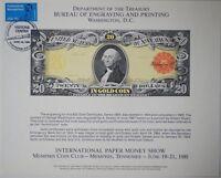 BEP souvenir card B 53 IPMS 1981 face 1905 $20 Gold Certificate Visitors Cancel