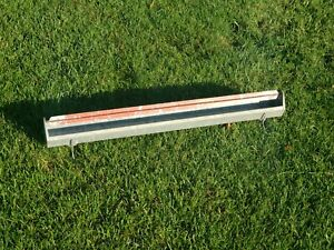 """3 ft / 36"""" HUDSON GALVANIZED METAL GRAY CHICKEN FEEDER POULRTY FEED TRAY RED BAR"""