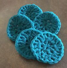 Scrubbies pot scrubber, nylon set of 5  handmade in USA crochet AQUA  kitchen