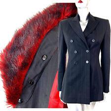 Karen Millen Trouser & Skirt Suit Wool Pinstripe Black Red Fur Collar 4 Pce UK10