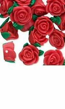 24 POLYMER POLYCLAY 13MM FLOWER BEADS 3D CLAY ROSE SHAPE RED GREEN