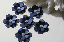 12 3D NAVY SHIMMER FLOWERS. CARD TOPPERS, WEDDING STATIONERY, TABLE CONFETTI