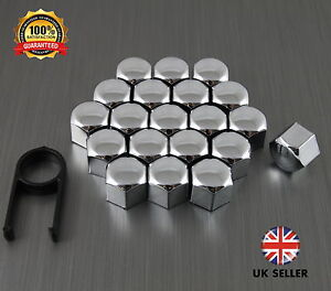 20 Car Bolts Alloy Wheel Nuts Covers 19mm Chrome For  Nissan Qashqai +2