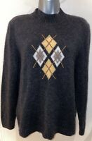Basler Grey Argyl Wool & Angora Crew Neck Jumper With Diamante Size 38 UK 12