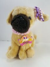 "Battat Brown Black Puppy Dog Pink Purple Ribbon soft stuffed plush 9"" Puggle"