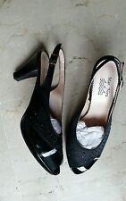decoltè scarpe donna 40 NEW punta kitten aperte chanel nere strass tacco Natale