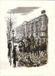 Antique map, Warsaw, Bristol Hotel