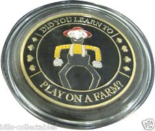 DID YOU LEARN TO - PLAY ON A FARM? gold color Poker Card Guard Protector