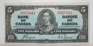1937 Coyne/Towers BANK OF CANADA FIVE ($5) DOLLAR BANK NOTE DS5573411 - EF