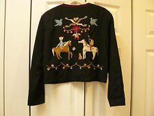 Vtg DOUBLE D RANCH Ranchwear Blazer Jacket Black Wool Embroidered - Medium