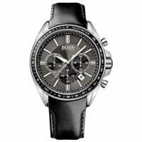 Hugo Boss HB 1513085 Chronograph Tachymeter Black Leather Band Men's Watch