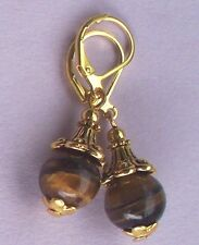 faceted TIGERS EYE drop earring GP leverback HANDCRAFTED