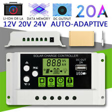 20A 12V/24V PWM Solar Panel Charge Controller Li-ion & Lead Acid Battery Charger