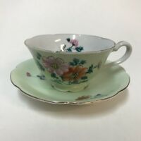 VTG Orion Teacup Saucer Set Occupied Japan Green Pink Orange Floral Gold Trim