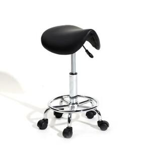 Black Adjustable Salon Stool Hydraulic Saddle Rolling Chair Facial Massage Spa