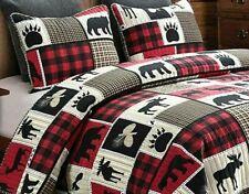 King Lodge Life 3 pc Quilt Set Black Bear Paw Moose Deer Eagle Red Buffalo Check