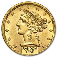 $5 Liberty Gold Half Eagle AU (Random Year) - SKU #167444
