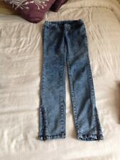 Blue Zip Shaded Distressed Skinny Jeans Size 10 Ladies