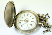 EXCELLENT Antique Imperial Russia PETROVSKIJE Silver Pocket Watch 60mm W057