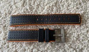 HIRSCH Performance Robby 20mm Black/Orange Calfskin/Rubber Watch Strap Damasko