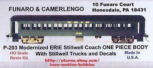 LMH Funaro F&C 203 P-203  ERIE STILLWELL  Passenger Car COACH Kit 1-PC w/ TRUCKS