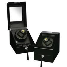 Watch Winder, Black Wood Finish Double Winder  Additional Three Watch Storage