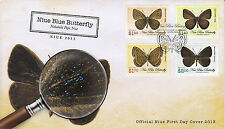 Niue 2013 FDC Blue Butterfly 4v Set Cover Butterflies Nacaduba Niueensis Insects