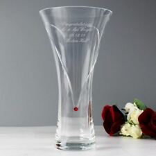 Personalised Large Hand Cut Ruby Diamante Heart Vase with Swarovski Elements-