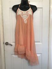 Pixie Lott Lipsy Dress Size 12 Halterneck Asymmetrical Peach Pink Sexy Babydoll