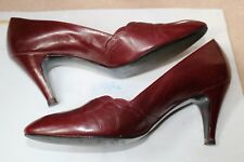 BALLY genuine vintage Burgundy leather heels pumps Made in England size 8 1/2 C