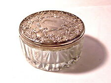 Lead Cyrstal Round Heavy Glass Trinket Container with Ornate Lid