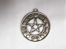 NEW LARGE SIZE PENTAGRAM STAR with 5 POINTS DECO EDGE PEWTER PENDANT NECKLACE