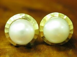 14kt 585 Yellow Gold Ear Studs With Akoya-Pearls Decorations/Earrings/1,8g