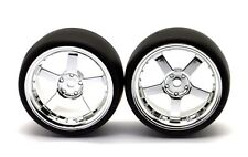 HRC Reifen 1/10 Drift 5 Speichen Chrome Felgen 6mm Slick 2 Stück - HRC61072CH